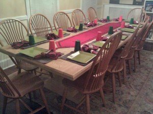 Our dining room table, set for a Christmas Party.